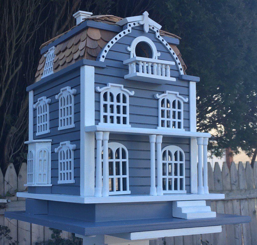 Best Sag Harbor Birdhouse Blue With Mansard Roof Bird 640 x 480