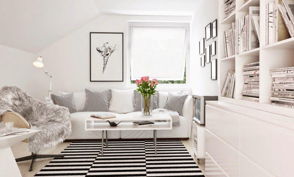 Salon Gris Idee Deco: Salon blanc aménagé avec un canapé gris ...