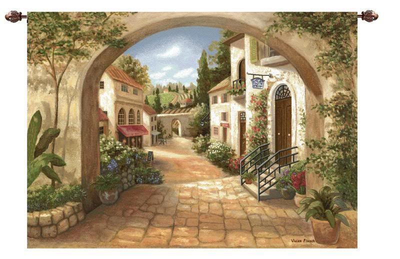 70 W European Quaint Town Italian Wall Hanging Tapestry Hanging Wall Art Tapestry Wall Hanging Tuscan Decorating