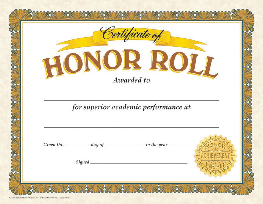 This is an image of Soft Free Printable Honor Roll Certificates