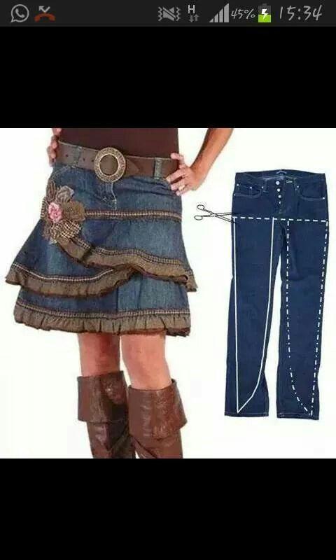 rock aus alter jeans n hen pinterest n hen jeans n hen und kleidung. Black Bedroom Furniture Sets. Home Design Ideas