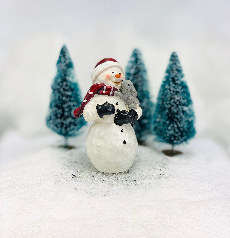 Snowman With Bunny Figurine Winter Fairy Garden Supply Snowman Decorations Miniature Garden Christmas Decor Winter Fairy Garden Christmas Fairy Garden Fairy Garden Supplies