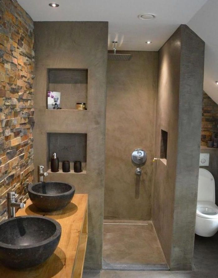 Salle de bain en béton ciré – brut de paume - Archzine.fr