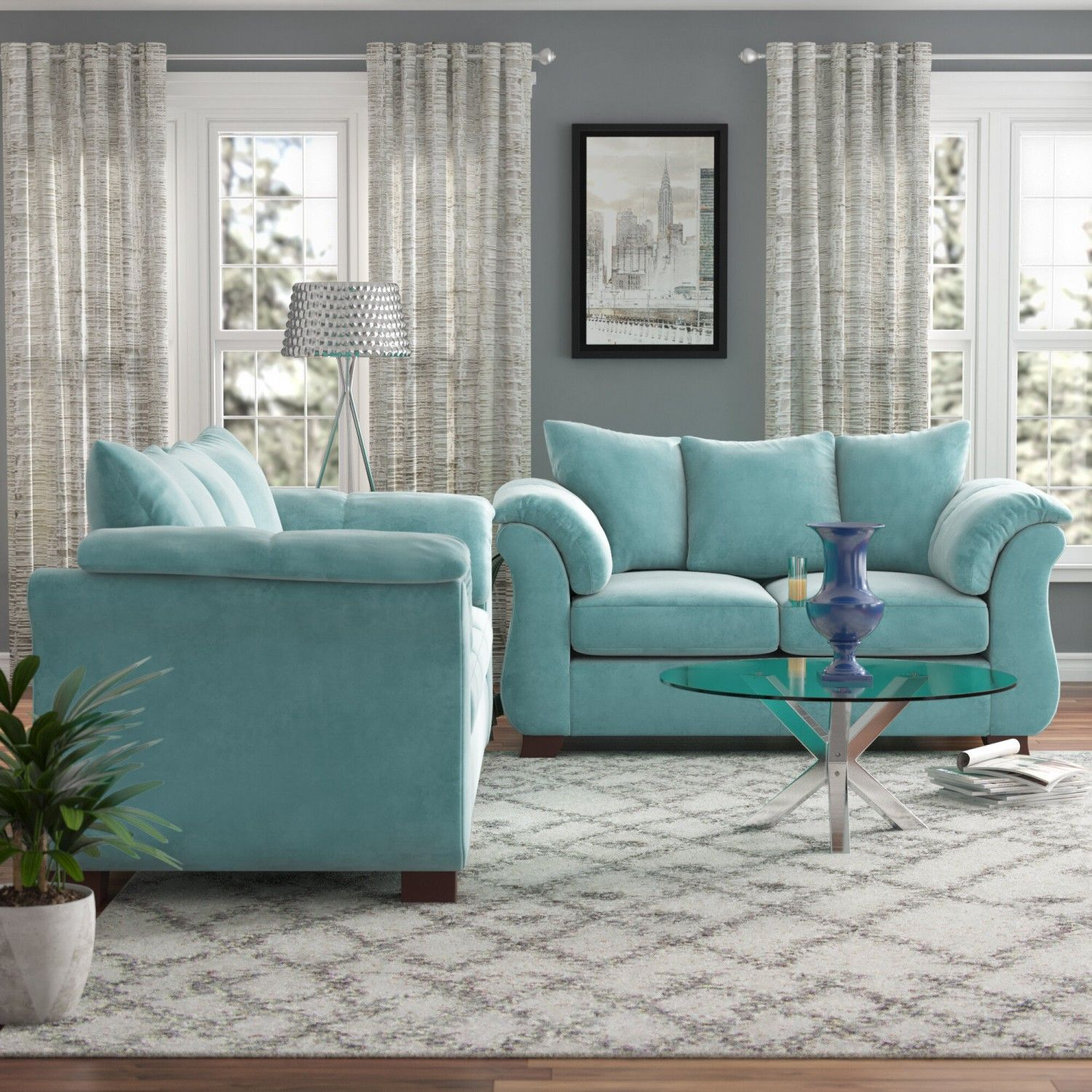 Norris Piece Living Room Set Turquoise Living Room Set In 2020 Living Room Turquoise Turquoise Living Room Decor Living Room Sets