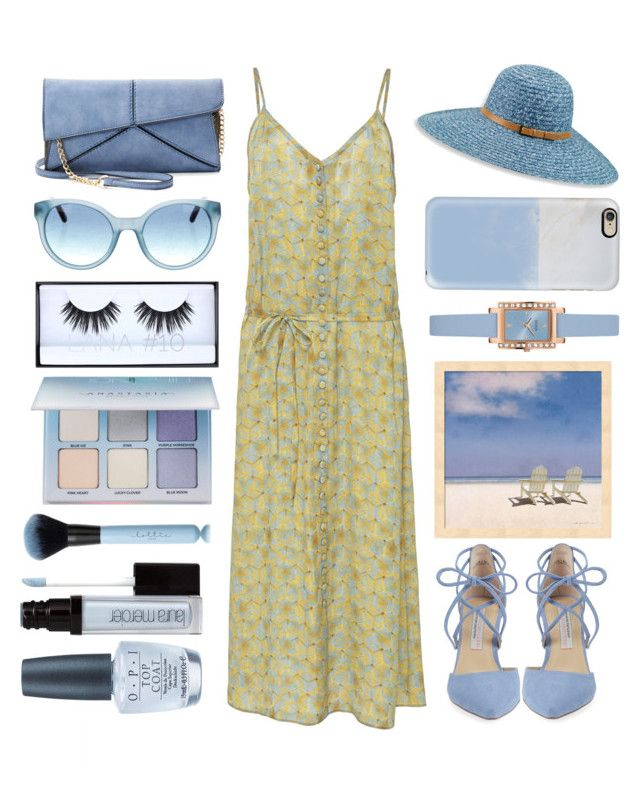 """""""Last walk on the beach"""" by juliehalloran ❤ liked on Polyvore featuring Kristin Cavallari, Mellow World, Betmar, GUESS, Tory Burch, Casetify, Huda Beauty, Anastasia Beverly Hills, Laura Mercier and OPI"""