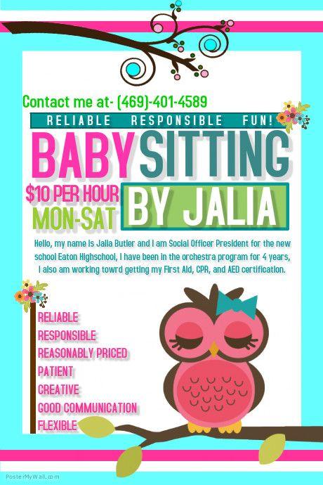 A New Poster Babysitting Flyers Babysitting Flyer