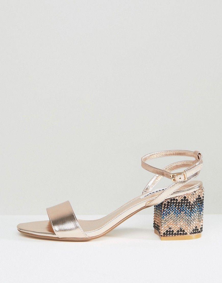 908067d23bc5 Dune London Marble Metallic Gem Block Heeled Sandals - Gold