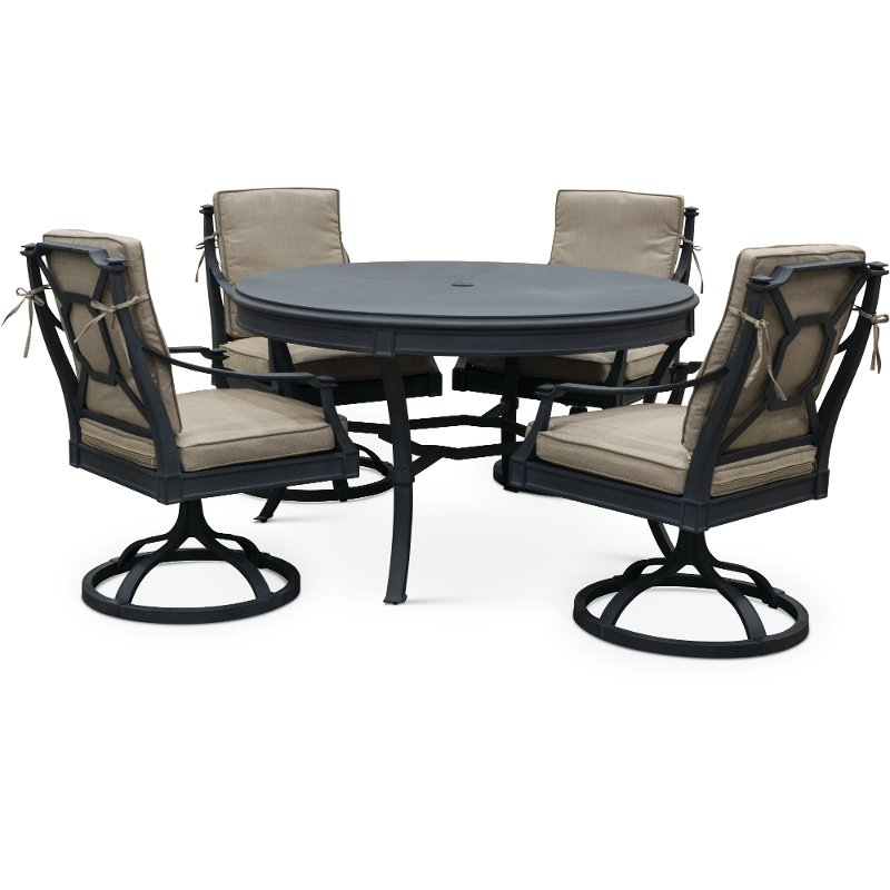 5 Piece Outdoor Patio Dining Set With Swivel Chairs Antioch Rc Willey Furniture Store Patio Dining Patio Dining Set Outdoor Furnishings
