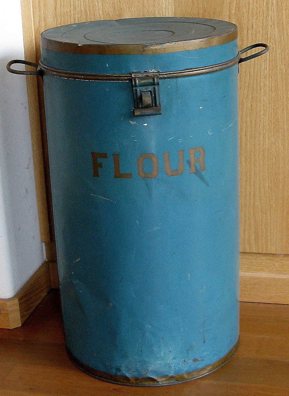 Antique Country Store Tin Flour Bin Original Blue Paint & Stencil ...