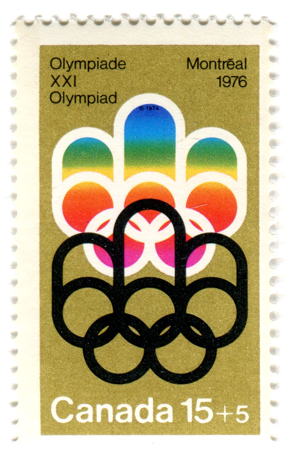 Montreal 1976 Olympiade Stamp / Metallic Gold/ G+A (my