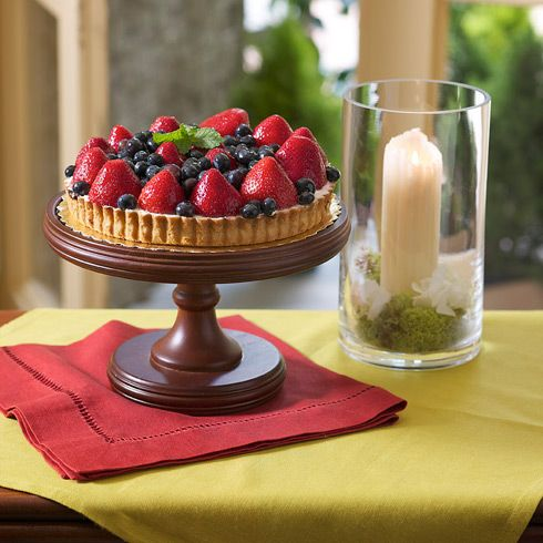 Fifth Avenue Cake Stand with Hurricane.  Use the hurricane as a candle holder or fill with seasonal items for a festive look.  http://www.BiltmoreInspirations.com/DebbieJElder