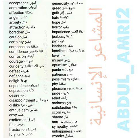 المشاعر الإنسانية Learn Arabic Language English Words English Language Course