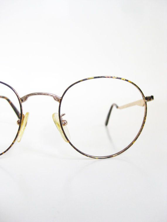 vintage 1980s round eyeglasses womens p3 frames glasses optical tortoiseshell gold metallic shiny deadstock 80s eighties