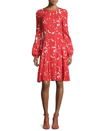 Oscar De La A Daisy Print Fit Flare Dress Vermillion Oscardelaa Cloth