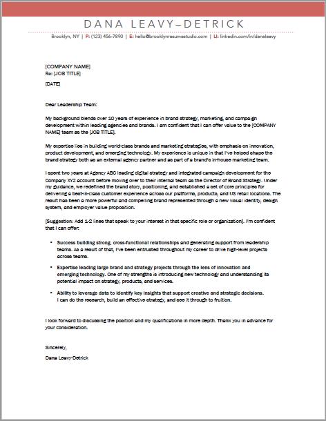 Brand Strategist Cover Letter   BROOKLYN RESUME STUDIO   www ...