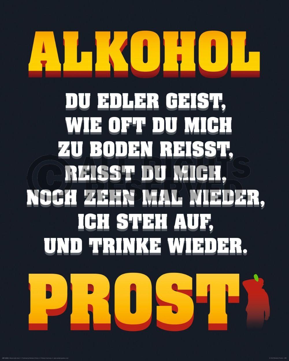 Poster: Alkohol edler Geist online te koop. Bestel je poster, je 3d filmposter of soortgelijk product Mini Poster