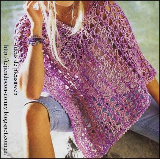 ponchito tejido a crochet con su patron http://tejiendoalcrochet.blogspot.com.ar/
