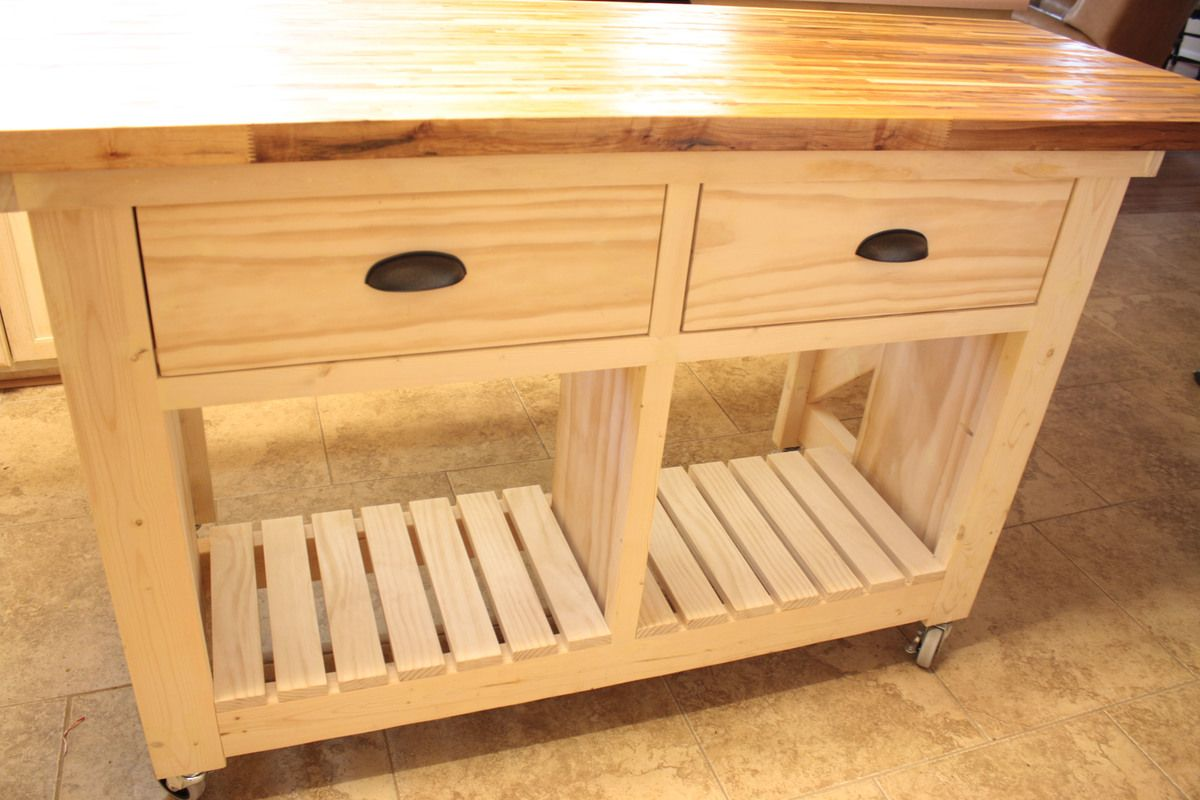 Double kitchen island with butcher block top Ana White