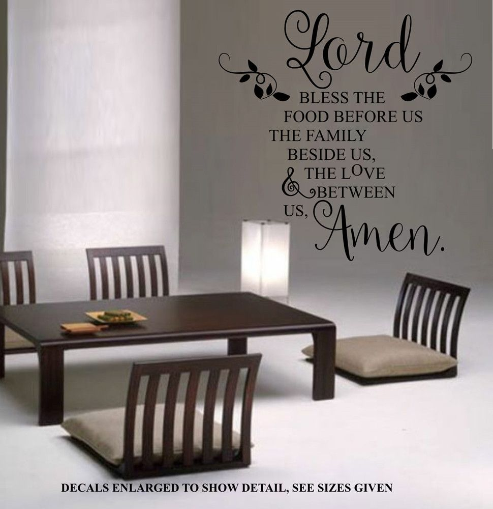 Bless the food before us kitchen quote wall art sticker xlrg vinyl