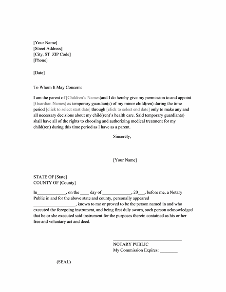 Power of attorney letter for child care templates for Naming a guardian for your child template
