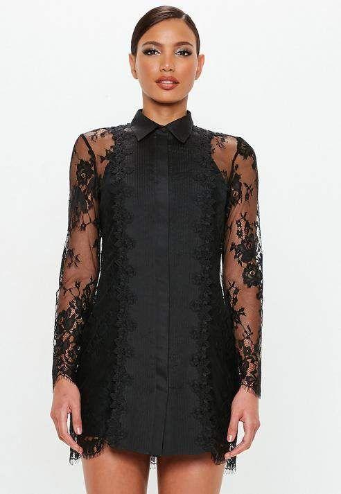 Peace + Love Black Lace Trim Shirt Dress  f678bc9f8