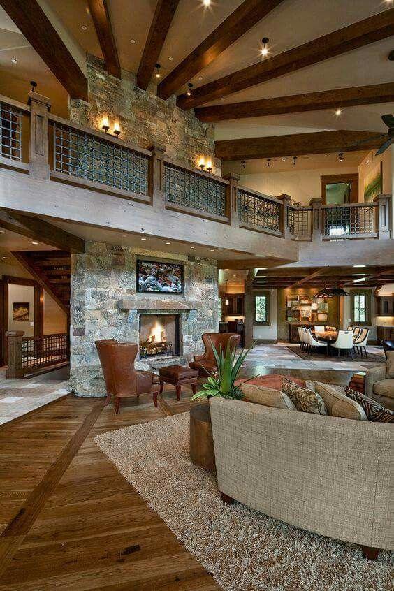 gemütlich, haus, wohnzimmer, kamin, stein und holz, offen | home ... - Kamin Gemtlich