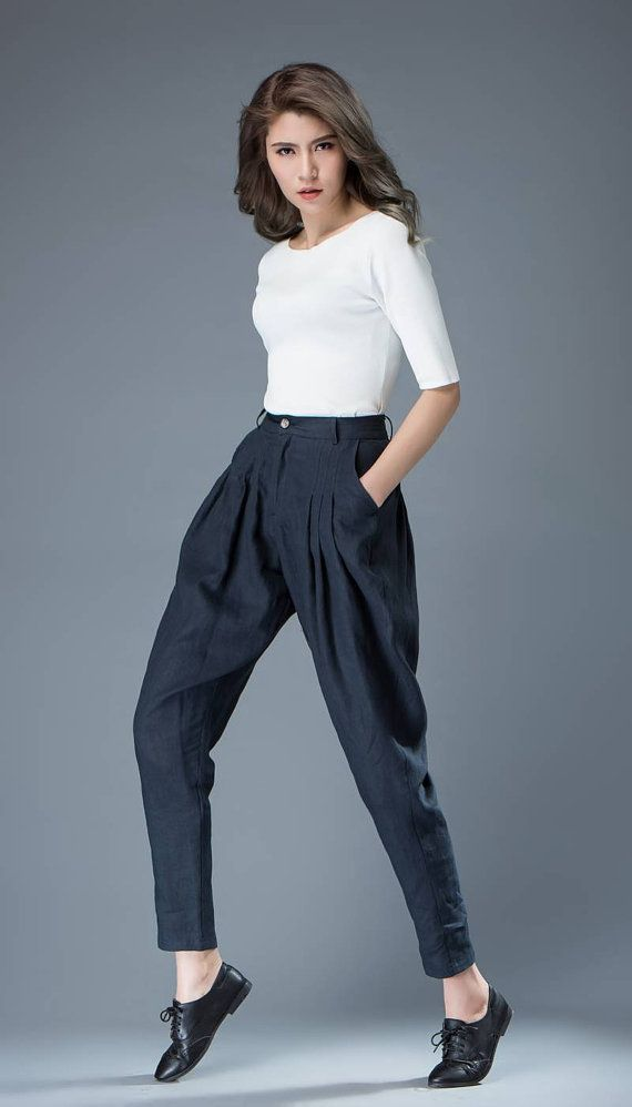 df340764639 Blue Women s Pants - Linen Tapered Leg Casual Pleated Tulip-Shape Trousers  with Pockets C831