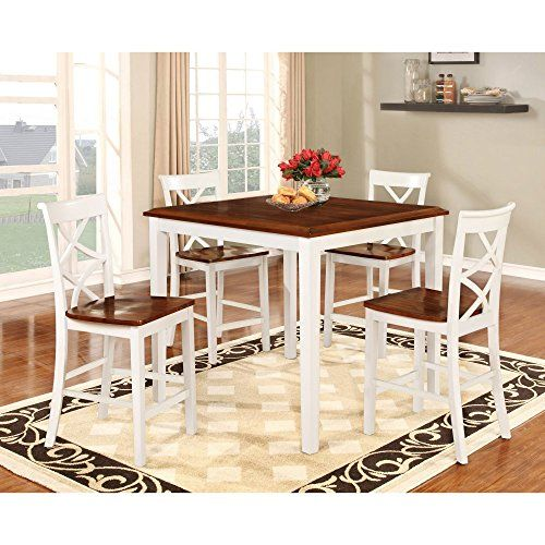 Powell 15d2002w Harrison Counter Set White Cherry Dining Room