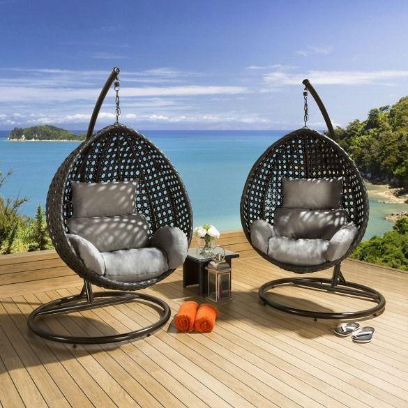 Quatropi Outdoor Garden Hanging Chair Set Black Rattan ...