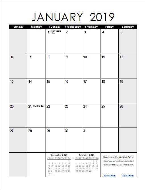 January 2019 Calendar A4 Size 999 Monthly Calendar Templates
