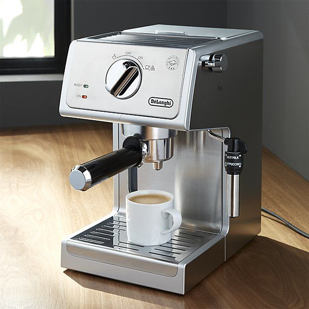 De'Longhi Stainless Steel Pump Espresso Maker + Reviews | Crate and Barrel #espressomaker