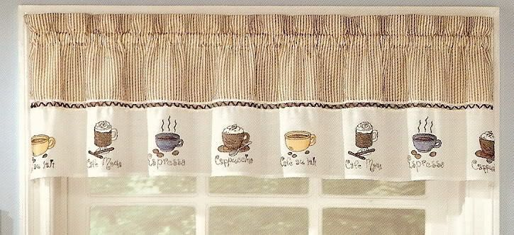 Java Espresso Coffee Cuccino Kitchen Curtain Valance