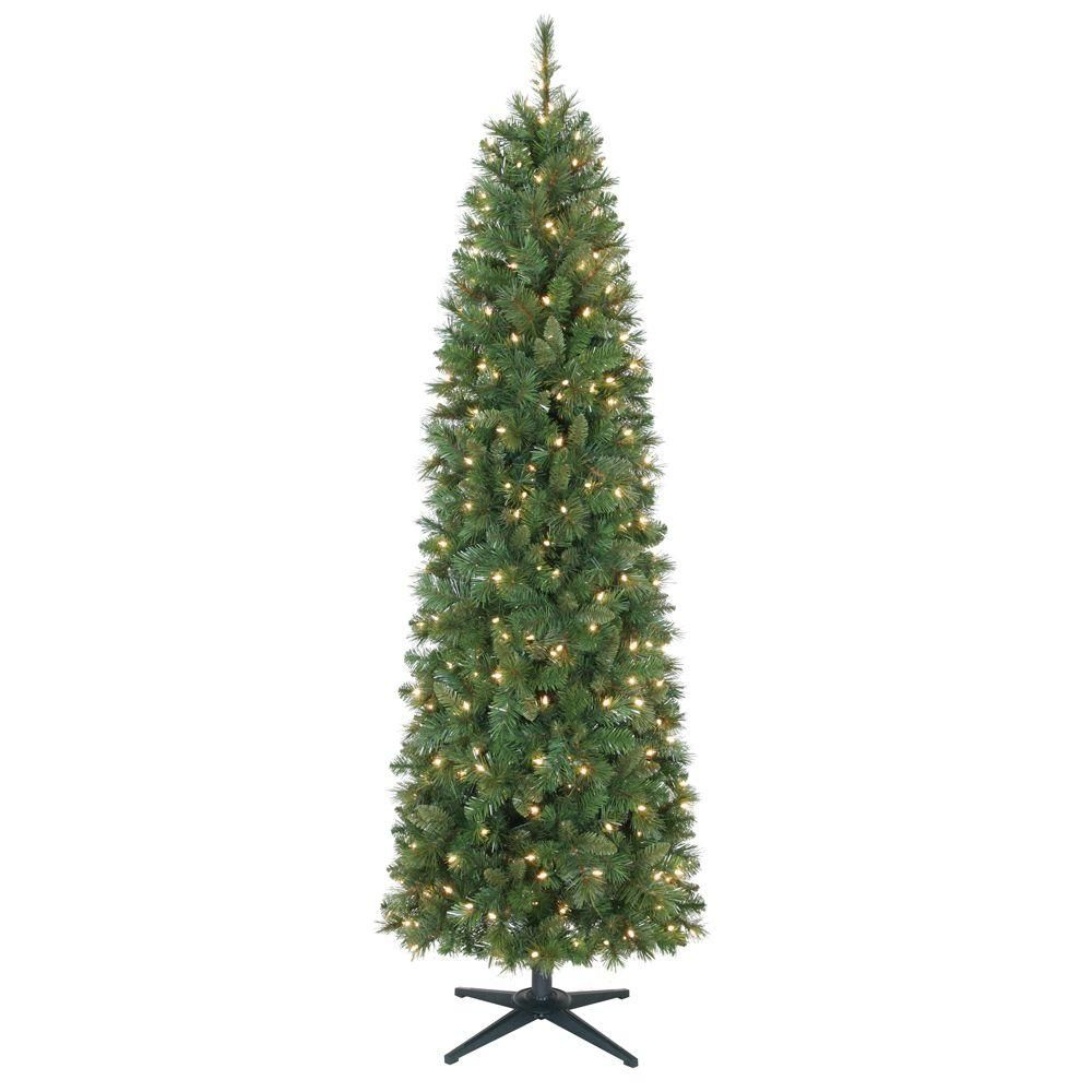 7 ft. Pre-Lit Wesley Pencil Pine Tree with Clear Lights-YONT835300CL ...