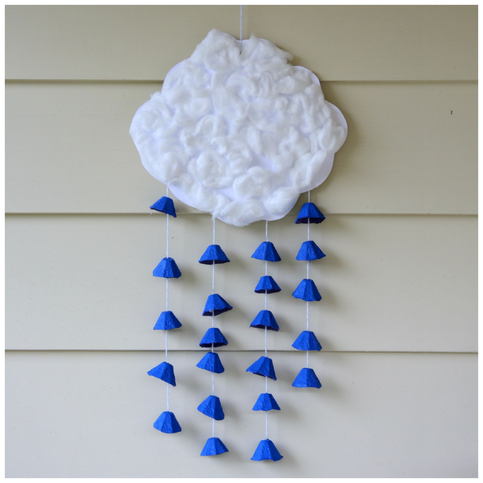 Earth day raincloud mobile made of recycled materials for Investigatory project recyclable materials