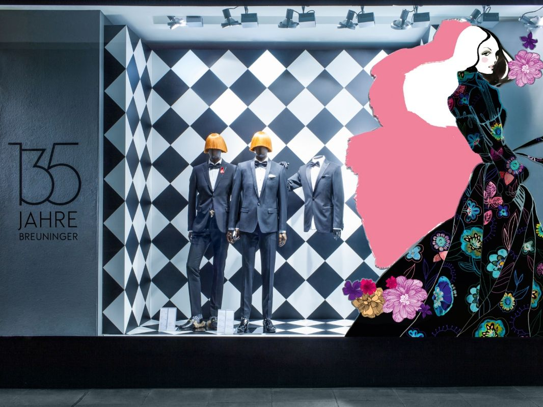 """BREUNINGER, Stuttgart/Dusseldorf, Germany, """"Celebrating 135 Years with large-scale illustrations from more than one century of fashion"""", creative by DFROST, pinned by Ton van der Veer"""