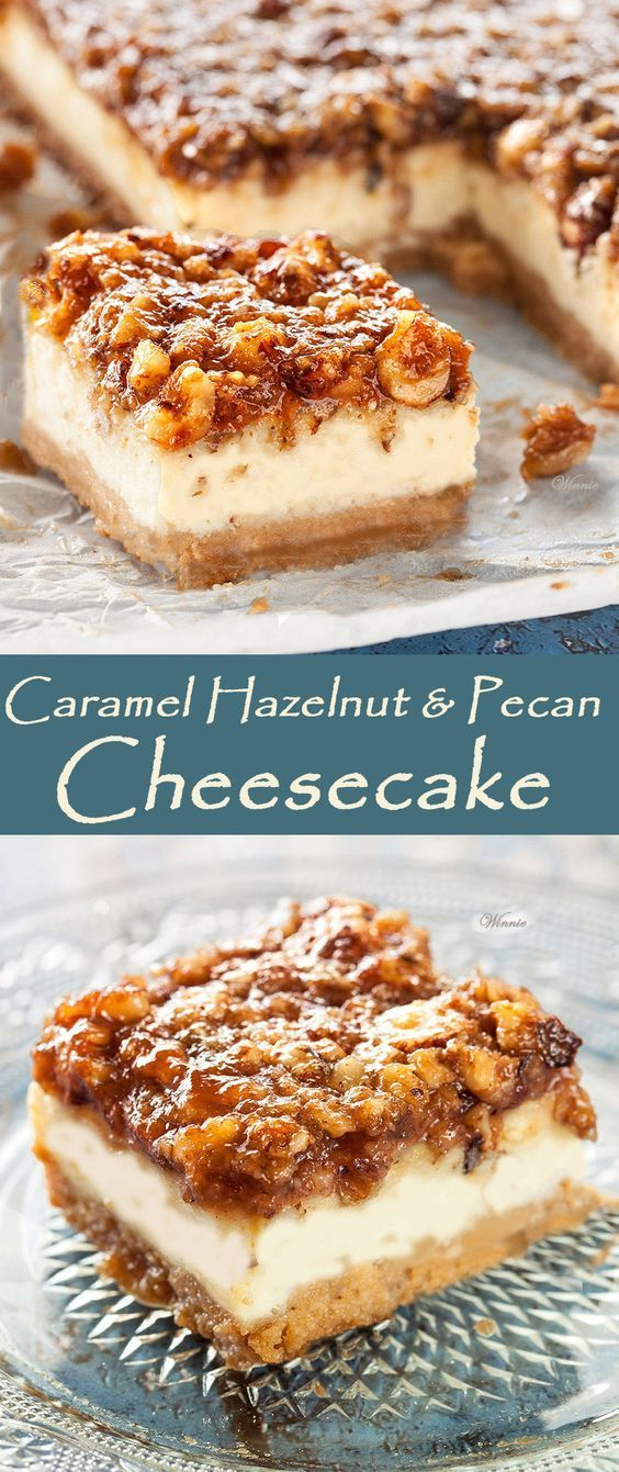 Caramel Nut cheesecake. .  Easy-to-make and super delicious cake. Caramel Hazelnut & Pecan Cheesecake. Every slice is a piece of heaven  (English version included)