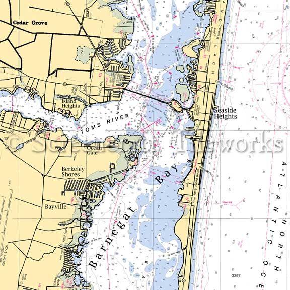 New Jersey Island Heights Nautical Chart Decor Nautical Chart Decor Island Heights Beach Cottage Decor