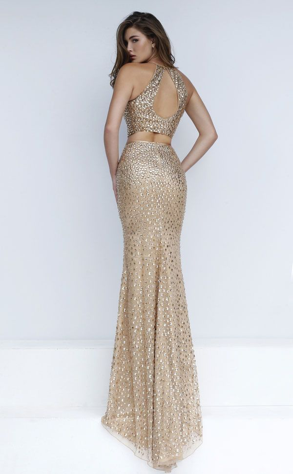 long two piece gold prom dress | Dresses | Pinterest | Gold prom ...
