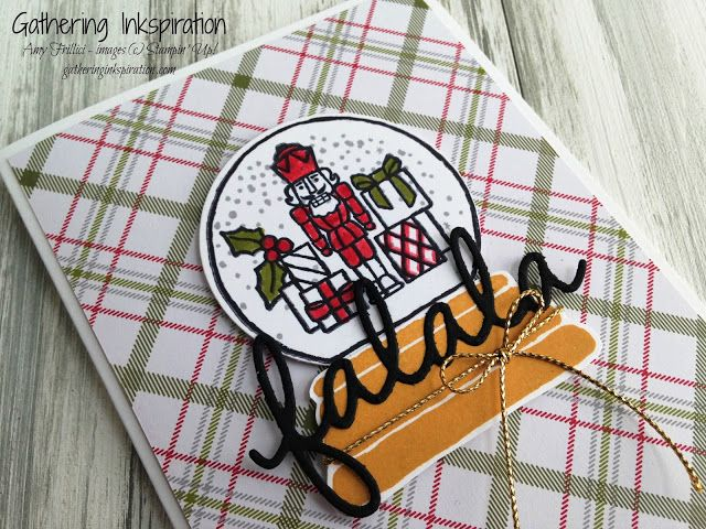 handmade card, christmas card, greeting card, christmas plaid, toy soldier, falala, red, green & gold, DIY, demonstrator, paper crafting, hobby, easy, quick, rubber, stamps, stamping, craft, paper, *Stampin' Up, by Amy Frillici, Gathering Inkspiration, order products online at amysuzanne.stampinup.net