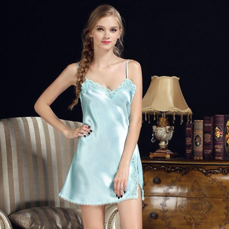 Women Sexy Nightgowns Lace Plus Size Sleep Dress Nightwear Silk ...