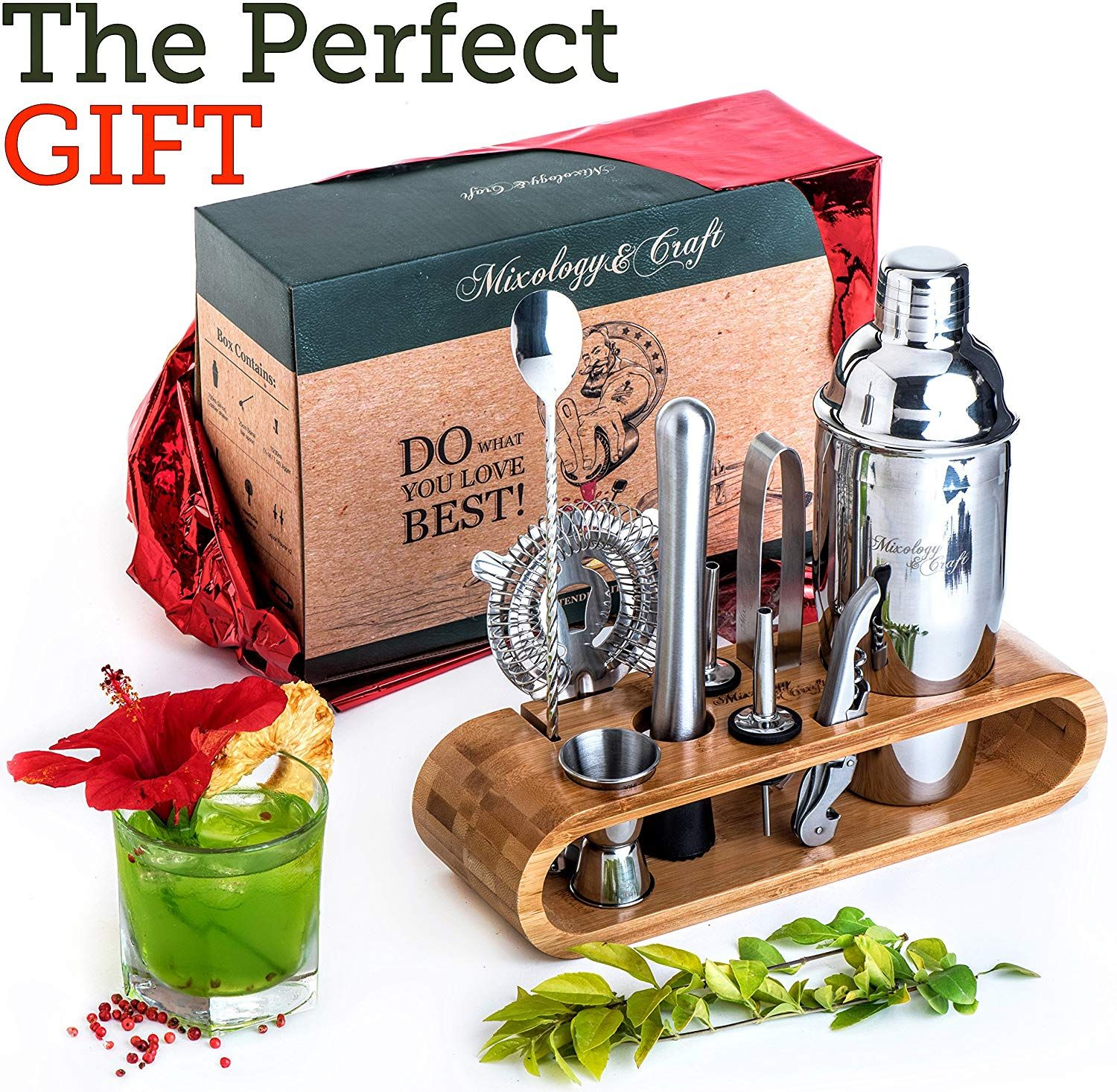 Bartender Kit Perfect Home Bartending Kit and Cocktail Shaker Set for an Awesome Drink Mixing Experience 10-Piece Bar Tool Set with Stylish Bamboo Stand Exclusive Cocktail Recipes Bonus
