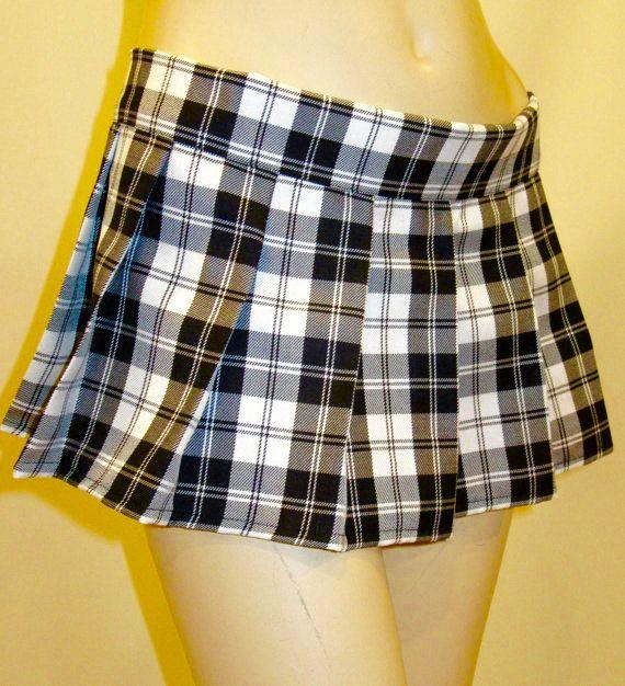 526c327a895f83 Menzies Black Plaid Pleated Mini Skirt Pub Wear~ | PLEATED & PLAIN ...