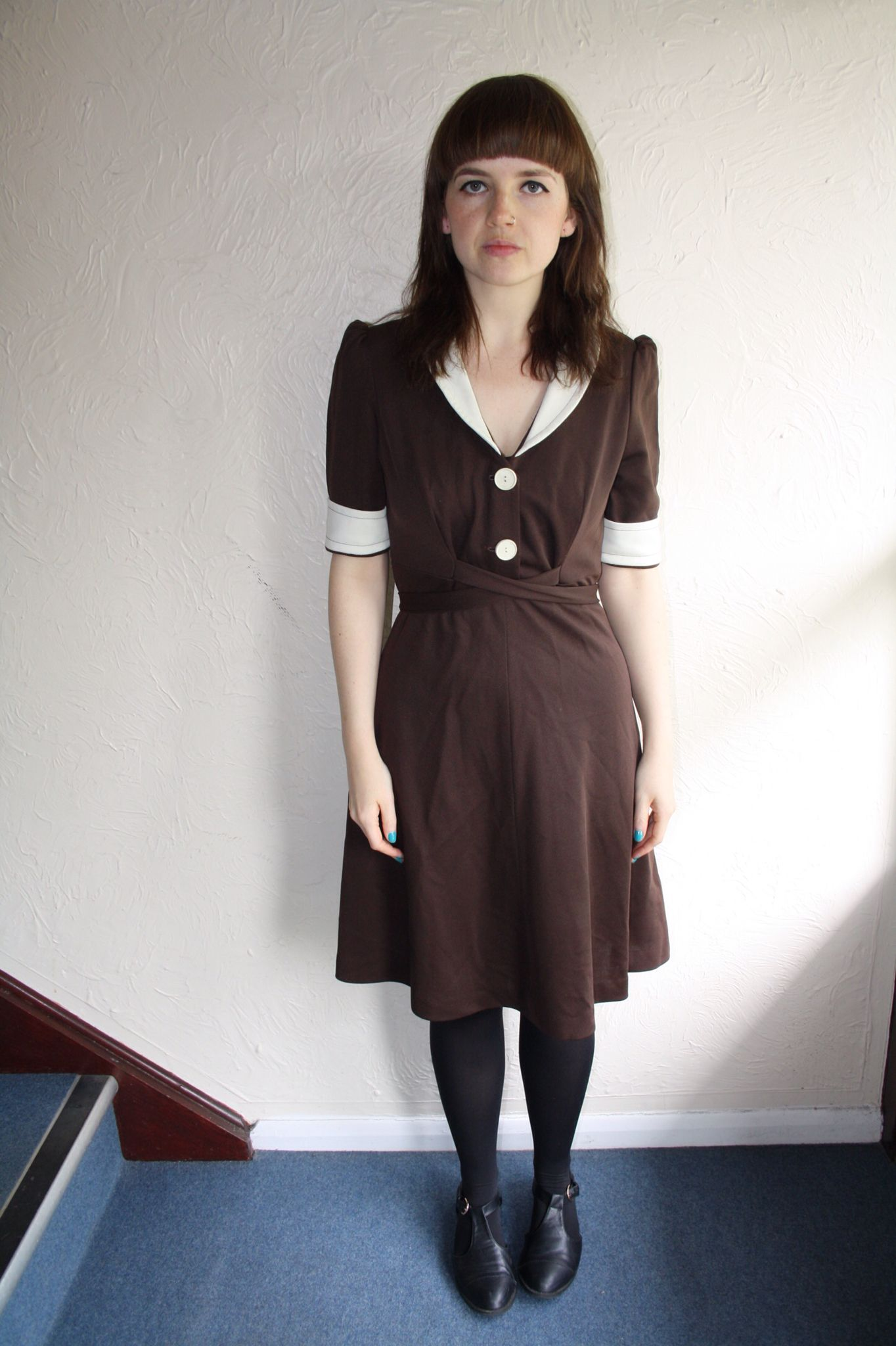70s Brown & Cream Dress www.fromluluwithlovevintage.com