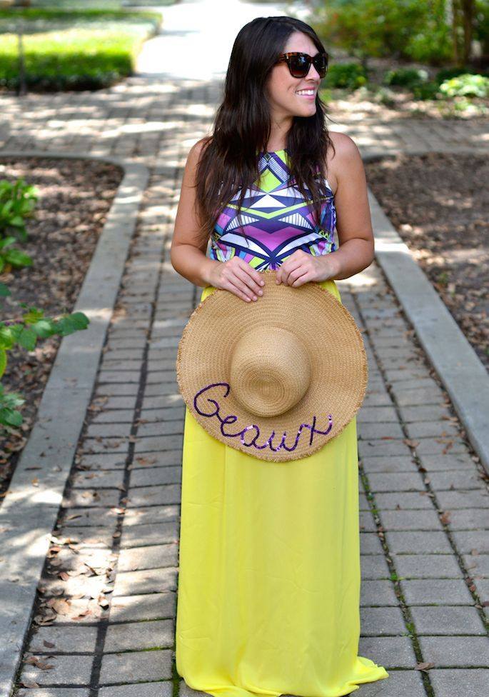 670e7995c28b8 DIY GEAUX Text Floppy Hat with Sequin Writing -- perfect for LSU football  season!
