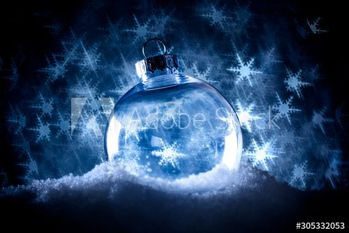 Clear Christmas ornament in snow surrounded by a bokeh of glittering lights in the shape of snowflakes. , #AFFILIATE, #snow, #surrounded, #ornament, #Clear, #Christmas #Ad