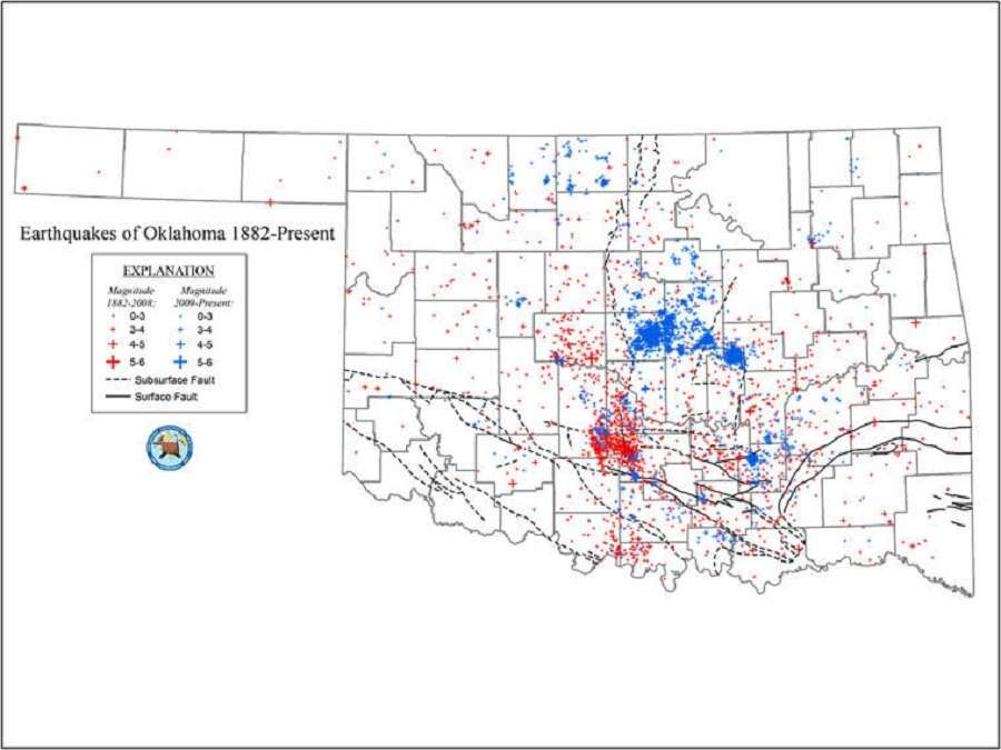Oklahoma Earthquake Map with surface and subsurface fault lines ...
