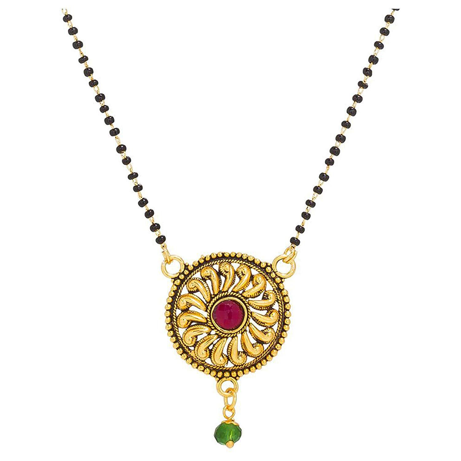Antique mangalsutra design ad black and gold line chain gold