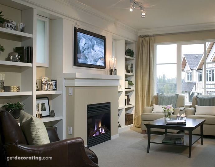 Fireplace And Tv On Same Wall Traditional Family Rooms Living