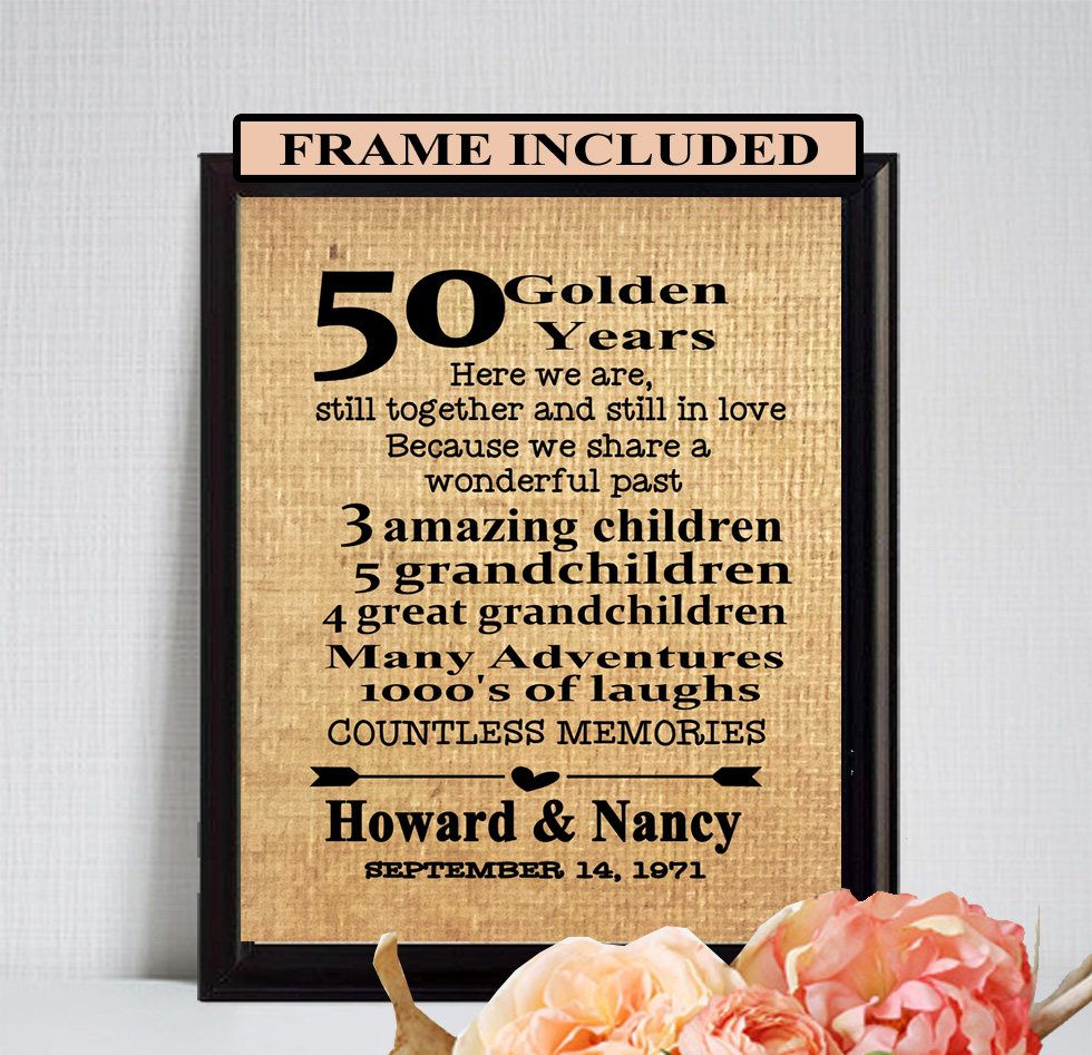 50th Wedding Anniversary 50th Anniversary Gift Golden