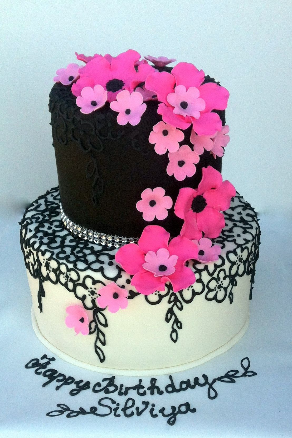 Astounding Photo 48Jpg Cake Tiered Cakes Hot Pink Cakes Funny Birthday Cards Online Overcheapnameinfo